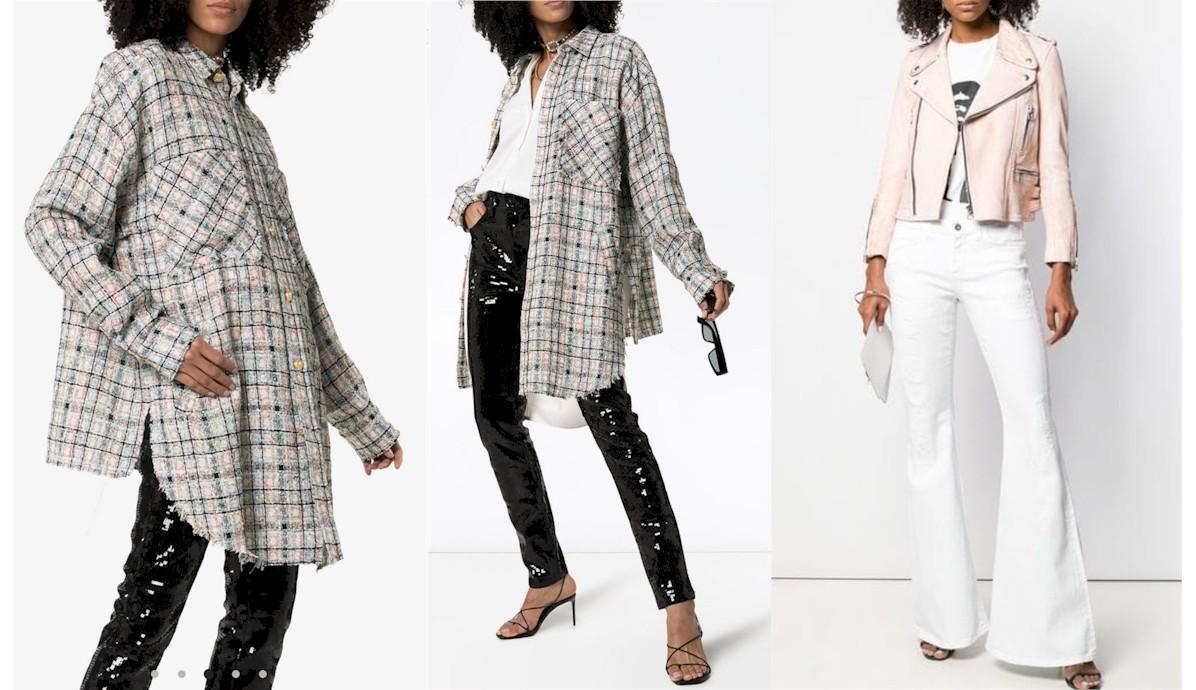 Chemise oversize en tweed et jean blanc flare FAITH CONNEXION